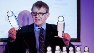 Hans Rosling gives a presentation on the global population at a conference in Oxford, England, in 2012.